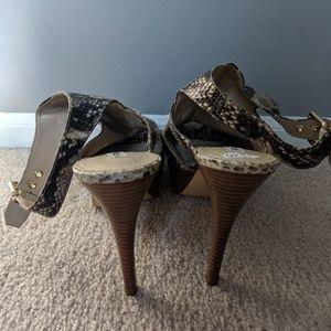 Guess Shoes - Guess Peep Toe Snakeskin Print Platform Shoes 10